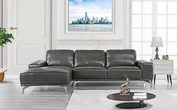 Modern Real Leather Sectional Sofa, L-Shape Couch with Right