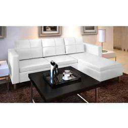 Modern Sectional Sofa 3-Seater L Shape Loveseat Couch Leathe