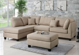 Modern Sectional Sofa Corner Couch Reversible Chaise Ottoman