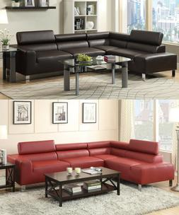 Modern Sectional Sofa Espresso Burgundy Colors Sofa Chaise L