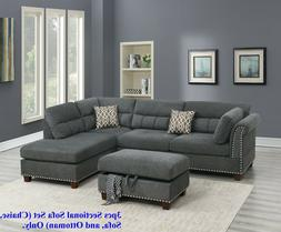 Modern Sectional Sofa L Shaped Couch Tufted Nickel Stud Arm