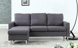 Modern Small Space Reversible Linen Fabric Sectional Sofa in