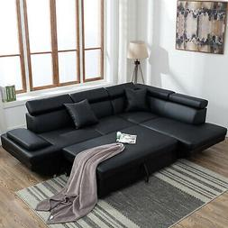 MODERN SOFA BED Contemporary Sectional with Functional Armre