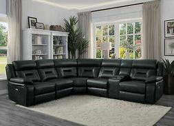 Modern Sofa Sectional Dark Gray Faux Leather Power Reclining