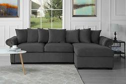Modern Large Tufted Velvet Sectional Sofa, Scroll Arm L-Shap