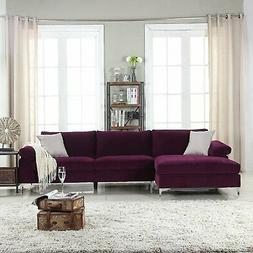 Divano Roma Furniture Modern Large Velvet Fabric Sectional S