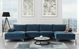 Modern Large Velvet Fabric U-Shape Sectional Sofa, Double Ex