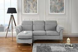 Modern Velvet Sectional Sofa - Small Space Couch with Silver