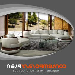 Modern White Curved Sectional Sofa w/ Stand Alone Lounge Cha