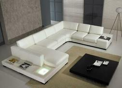 Modern White REAL Leather Corner Sectional Sofa with Light V