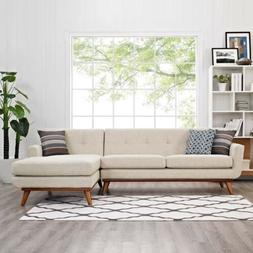 Modway Engage Right-Facing Sectional Sofa in Beige