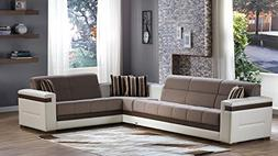 Moon Sectional Sofa Bed in Platin Mustard