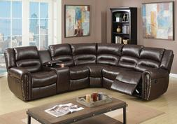 Motion Recliner Sectional Sofa Corner Couch Stud Brown Bonde