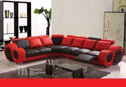Motion Red And Black Bonded Leather Sectional Sofa set Recli