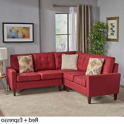 Nasir Mid Century Modern 3-piece Sectional Sofa Set by Red