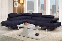 Poundex F7569 Navy Blue Linen Fabric Modern Sectional Sofa,