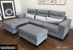 NEW 3-Piece Modern Grey Microfiber Sectional Sofa Set S6832R