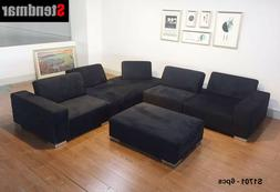 New 6-Piece Adjustable Seat Depth Fabric Sectional Sofa Set