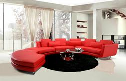 NEW DANBY Modern Living Room Furniture - Red Leather Curve S