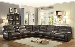 NEW Large Sectional Living Room Brown Faux Leather Reclining