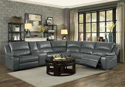 NEW Modern Sofa Sectional Gray Faux Leather Power Reclining