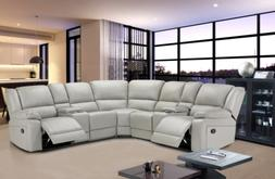 NEW Motion Sofa Sectional Black Faux Leather Reclining Livin