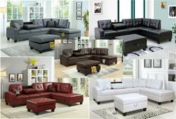 New Pu Leather Living Room Sectional Sofa Set in Black/White