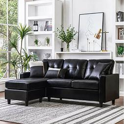 New PU Leather Sectional Double Chaise Longue Combination L-