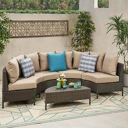 Newton Outdoor 4 Seater Curved Wicker Sectional Sofa Set