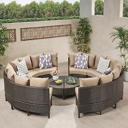 Newton Outdoor 8 Seater Round Wicker Sectional Sofa Set with