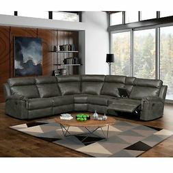 Nicole Reclining Faux Leather Upholstered Sectional Sofa Gre