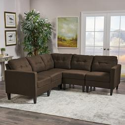Niya Mid Century Modern 5 Piece Fabric Sectional Sofa