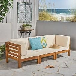 Oana Outdoor 3-Seater Acacia Wood Sectional Sofa Set by