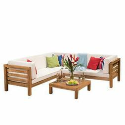 Oana Outdoor 5 Seater V Shaped  Acacia Wood Sectional Sofa