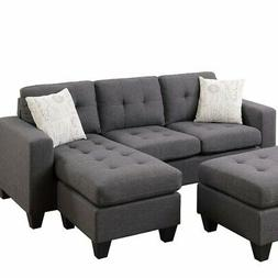 Poundex One Sectional with Ottoman and 2 Pillows in Gray, Bl