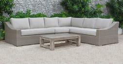 outdoor beige sectional sofa set 5 pcs