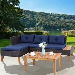 Outdoor Rattan Sectional Sofa Set with Cushion Patio Table W