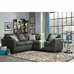 Furniture of America Parker 2-Piece Fabric Sectional Sofa -,
