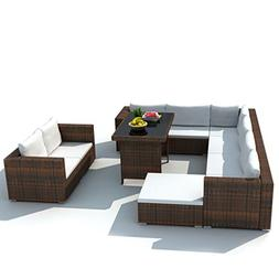Festnight 28 Piece Patio Dining Lounge Set Outdoor Sectional