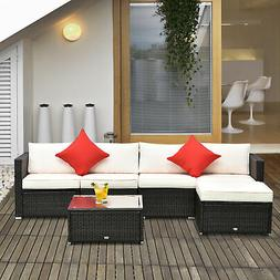 Outsunny 6pc Patio Furniture Rattan Wicker Sofa Outdoor Gard