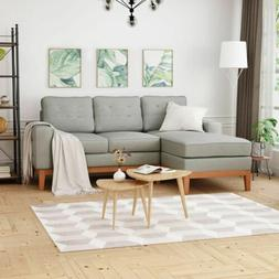 Penny Chaise Sectional Sofa Set, 2-Piece 3-Seater, Tufted, E