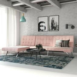 Pink Velvet Sectional Sofa Couch Futon & Chaise Set Modern H