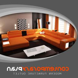 Polaris Orange Genuine Leather Sectional Sofa- Modern Design