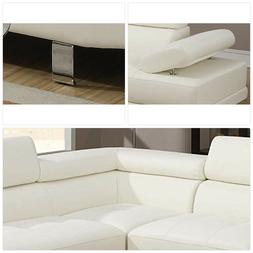 Poundex 2 Pieces Faux Leather Sectional Right Chaise Sofa, W
