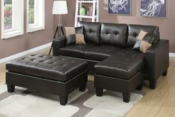 Poundex F6927 Espresso Bonded Leather Reversible Sectional S