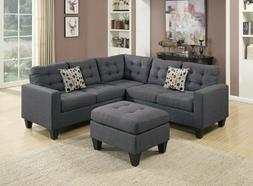 Poundex F6935 4-Pcs Blue Grey Fabric Sectional Sofa Couch Se