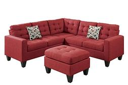 Poundex F6936 Bobkona Norton Linen-Like 4 Piece Sectional wi