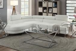 Poundex F6985 White Bonded Leather Sectional Sofa White Colo