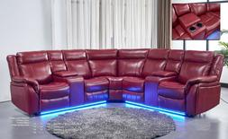 Power Reclining Motion Sectional Sofa set in Red Console Lov