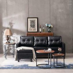 PU Leather Small Space Sectional Sofa L-Shaped Couch W/Rever